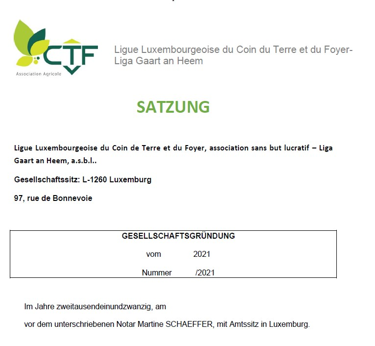 Projet des statuts Ligue CTF asbl